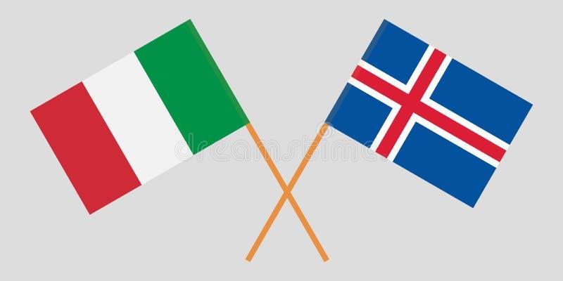 Islandia e Italia Las banderas del islandés y de IItalian Colores oficiales Proporción correcta Vector libre illustration