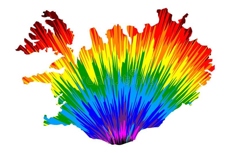 Islandia - el mapa es modelo colorido diseñado del extracto del arco iris stock de ilustración