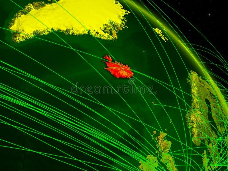Islandia en el globo digital stock de ilustración