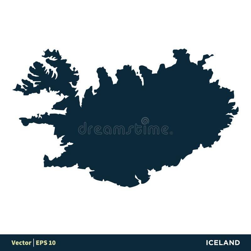 Islandia - los pa?ses de Europa trazan dise?o del ejemplo de la plantilla del icono del vector libre illustration