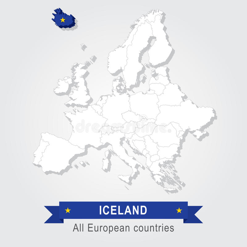 islandia Mapa administrativo de Europa ilustración del vector