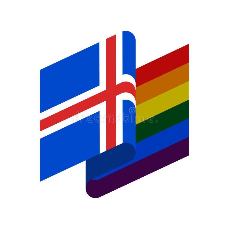 Islandia y bandera de LGBT Símbolo islandés de tolerante Ra gay de la muestra ilustración del vector