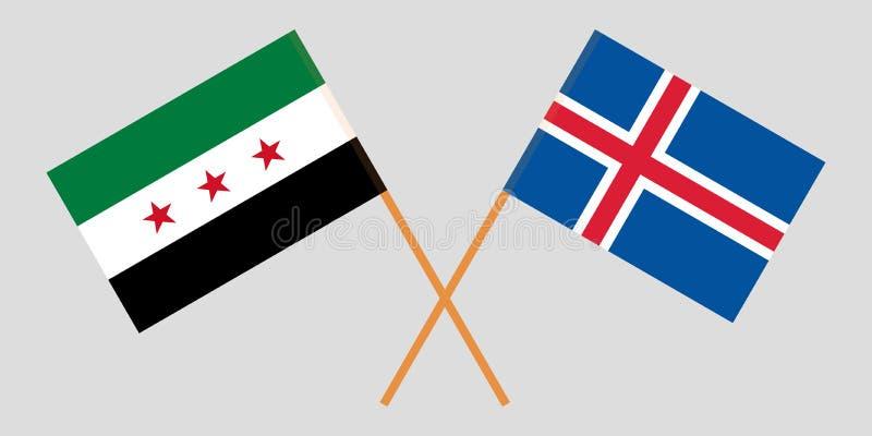 Islandia y gobierno provisional de Siria Las banderas del islandés y de la coalición Colores oficiales Proporci?n correcta Vector ilustración del vector