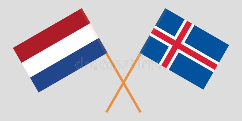 Islandia y Países Bajos Las banderas del islandés y de Netherlandish Colores oficiales Proporci?n correcta Vector ilustración del vector