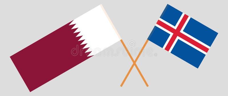 Islandia y Qatar Las banderas del islandés y de Qatari Colores oficiales Proporci?n correcta Vector libre illustration