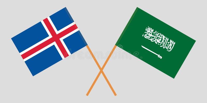 Islandia y Reino de la Arabia Saudita El islandés y banderas de KSA Colores oficiales Proporci?n correcta Vector ilustración del vector