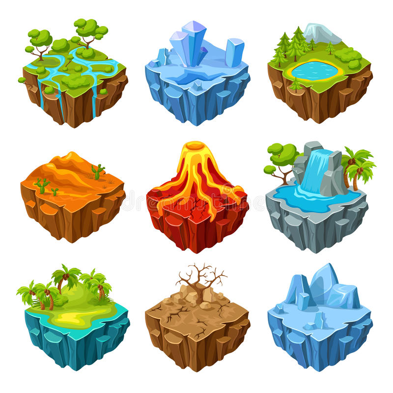 Islands Of Computer Game Isometric Set. With drought trees and mountains volcano and waterfall isolated vector illustration royalty free illustration