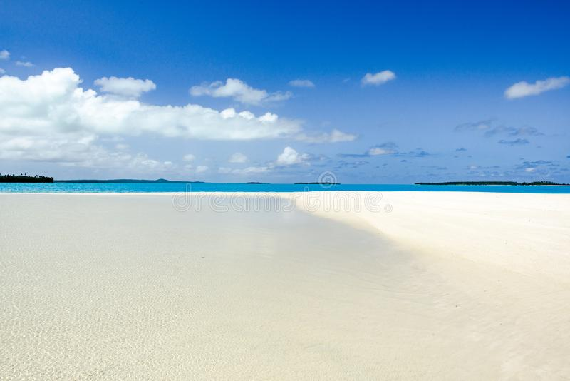 Absolute clear water, deep blue sky, white sand, perfect islands in Pacific Ocean stock photos