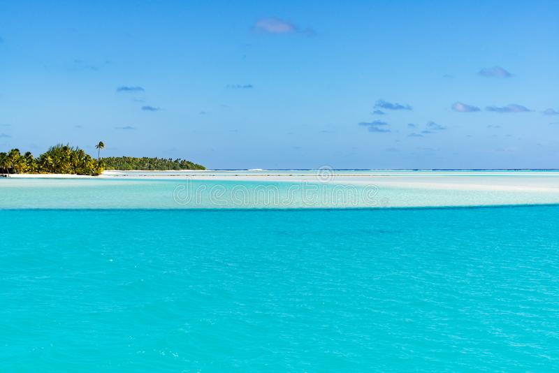 Perfect white beach and turquoise clear water, deep blue sky, white sand, small island, Pacific Island stock photography