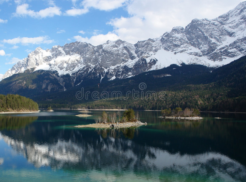 Download Islands On Eibsee , Zugspitze. Stock Image - Image: 5040653