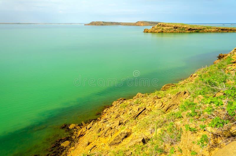 Islands and Green Sea. Barren islands in a green sea in La Guajira, Colombia royalty free stock photos