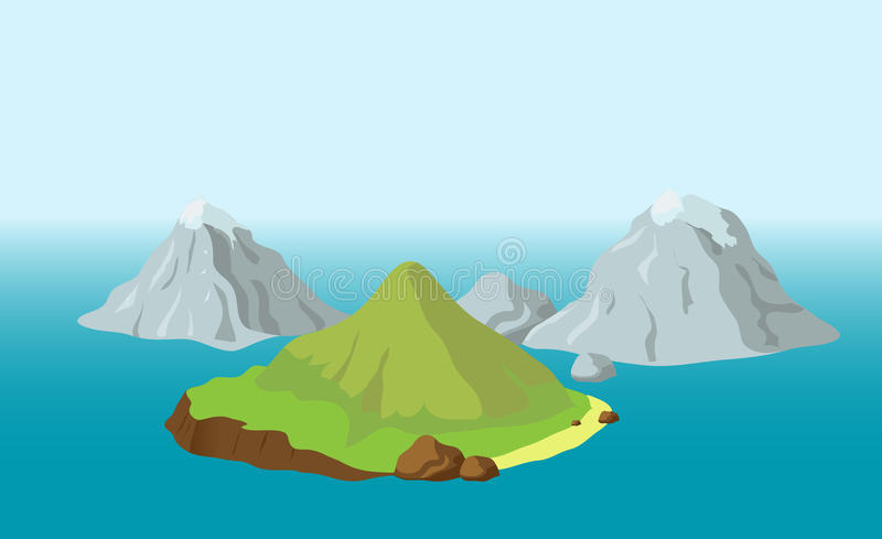 Islands with mountains. Blue Sea and Islands with Mountains royalty free illustration