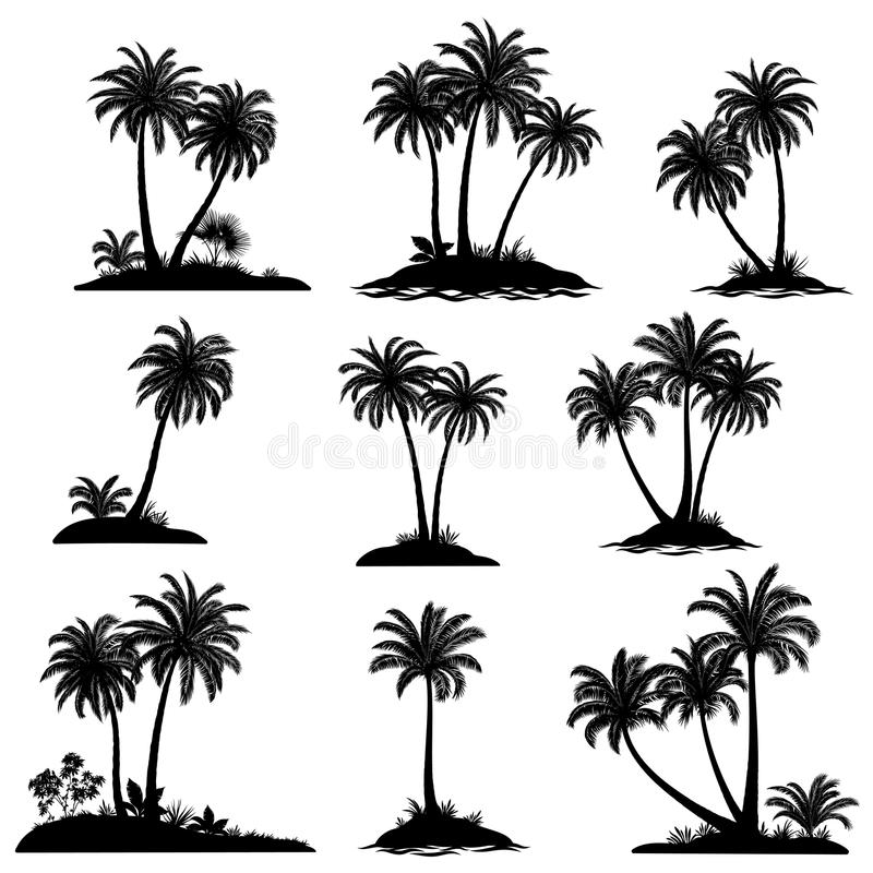 Islands with Palm Trees Silhouette vector illustration