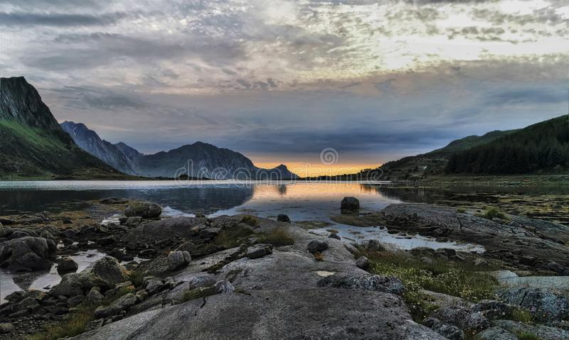 A sunset view from Lofoten islands. The islands are perfect for adventurers who are interested in a variety of adrenaline-pumping activities including surfing stock images