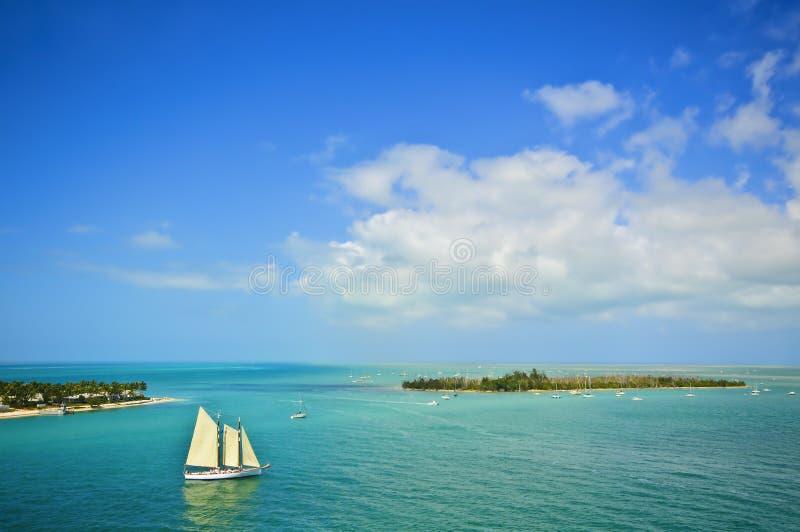 Islands and Sailboat, Florida Keys royalty free stock photography