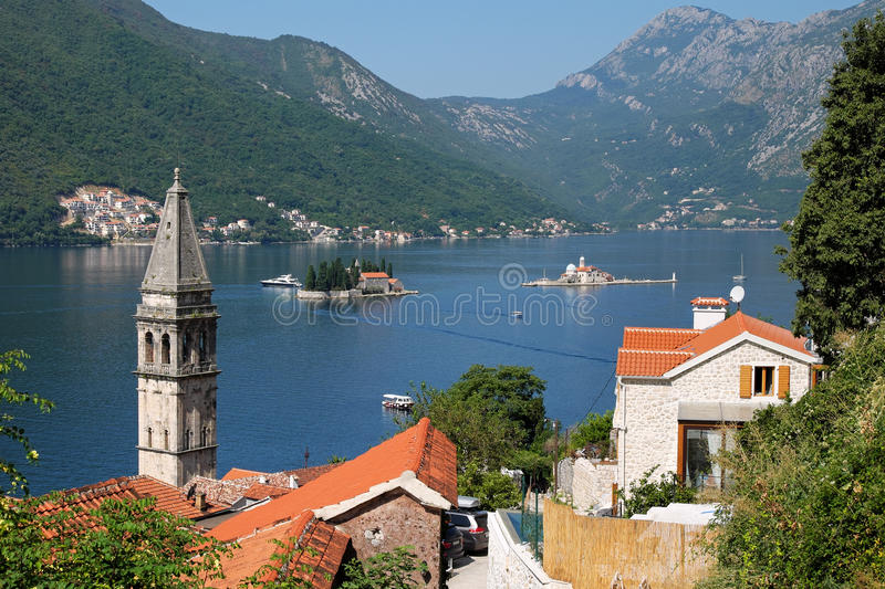 Islands of Saint George and Our Lady of the Rocks, Montenegro. Islands of Saint George and Our Lady of the Rocks off coast of Perast in Bay of Kotor, Montenegro stock photos