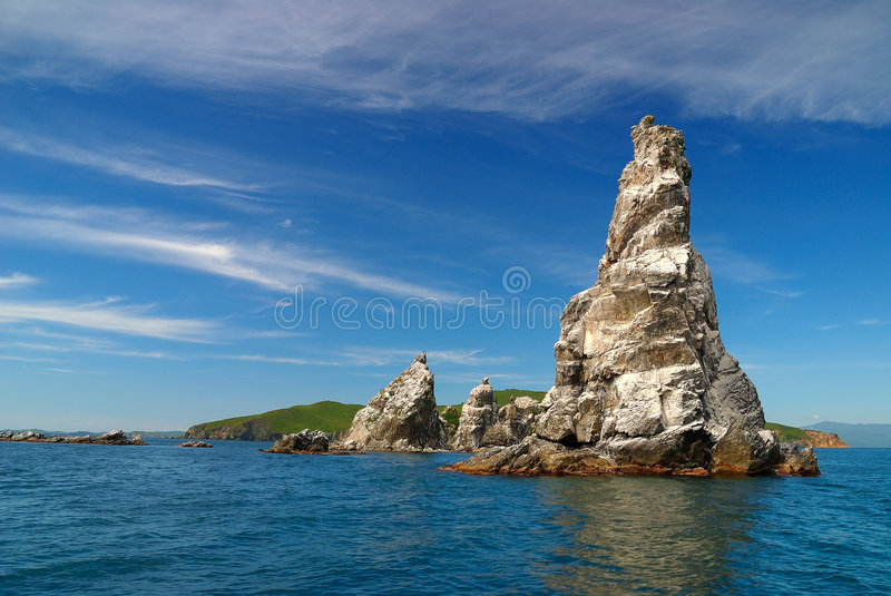 Islands of sea of Japan royalty free stock image