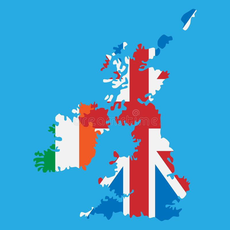 Islands of United Kingdom and Ireland with national flags stock photo