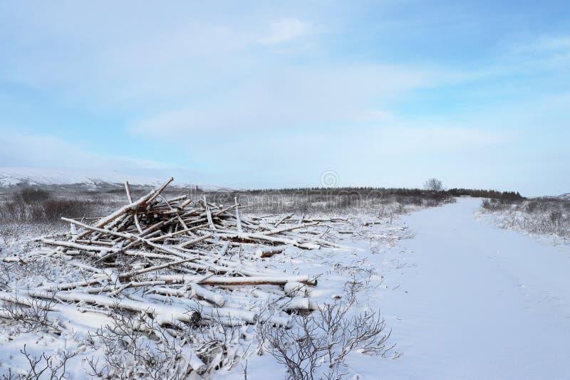Islandzka droga zakrywająca z śniegiem obraz royalty free