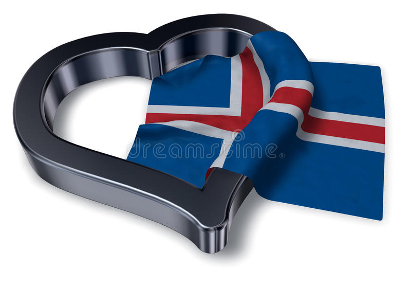 Islandzki flaga i serca symbol royalty ilustracja