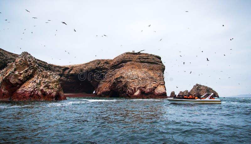 Islas Ballestas, Paracas, Peru-OKTOBER 15, 2017: Landskap av vagga Gruppen av turister rider på ett utfärdfartyg fotografering för bildbyråer