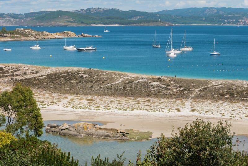 ISLAS CIES, VIGO, SPANIEN - 16. SEPTEMBER 2017: Ansicht des Playa stockbild