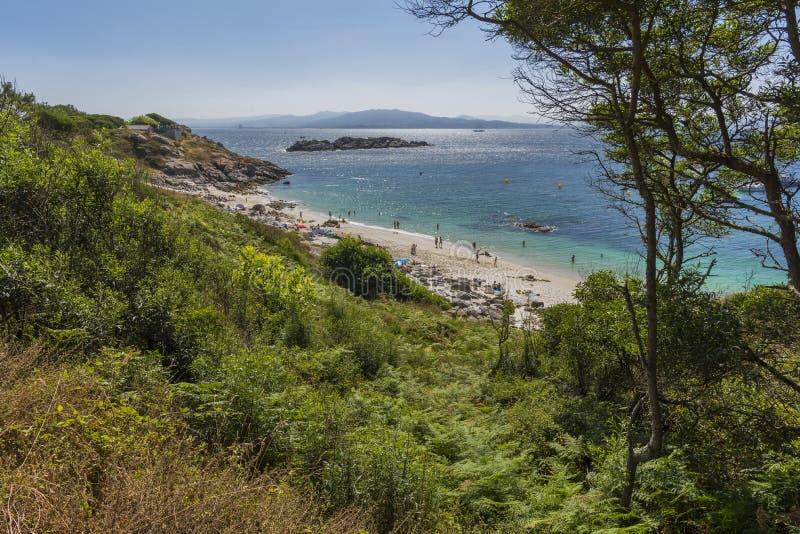 Islas de Cies de la playa del Senora de Nosa fotografía de archivo