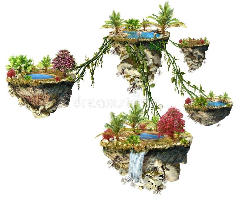 Islas de la fantasía stock de ilustración