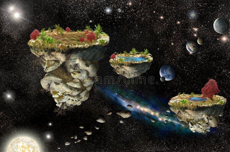 Islas de la fantasía en espacio stock de ilustración