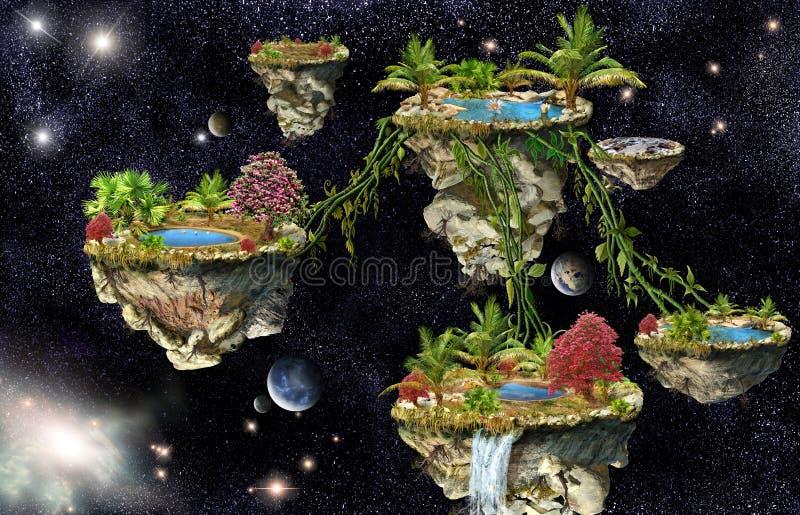 Islas de mundo de fantasía stock de ilustración