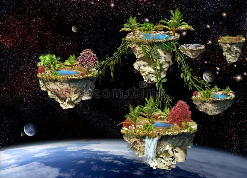 Islas de mundo de fantasía ilustración del vector