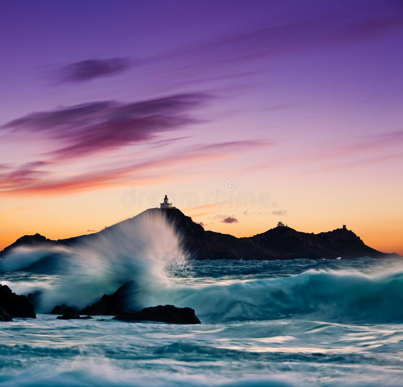 Islas de Sanguinaires en Córcega - Francia imagenes de archivo