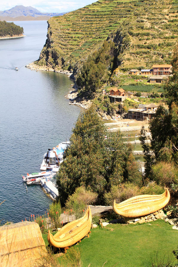 Islas de Sun de Titicaca imagen de archivo