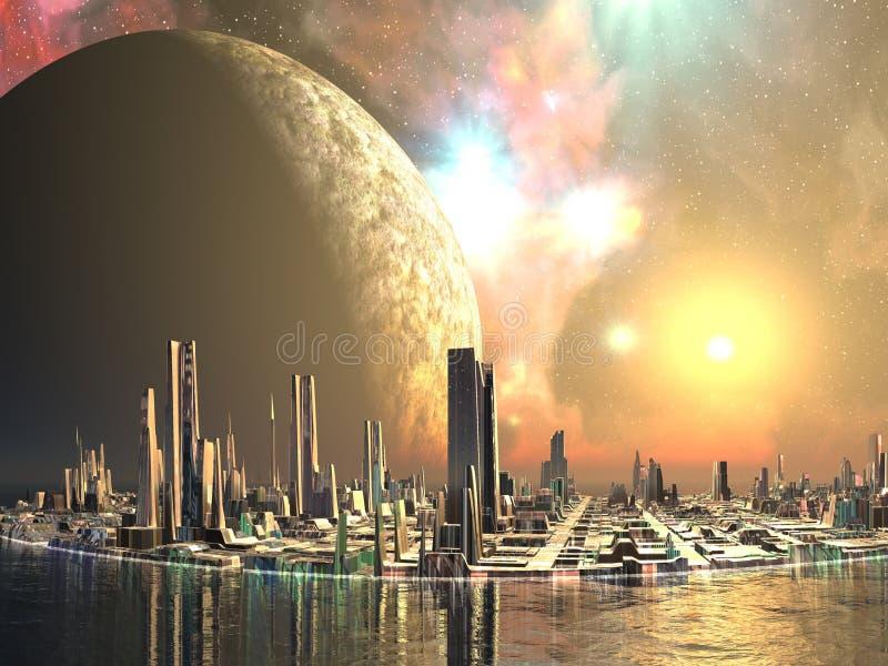 Islas de Utopía - ciudades del futuro ilustración del vector