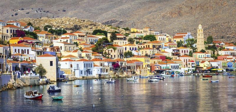 Islas griegas hermosas - Chalki fotos de archivo