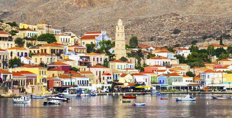 Islas griegas hermosas - Chalki fotografía de archivo