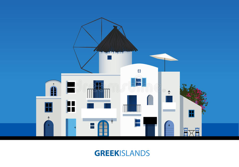 Islas griegas Vista de la arquitectura griega típica de la isla en azul ilustración del vector