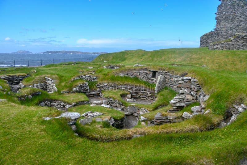 Islas Orcadas, Brae de Skara Ruinas neolíticas imagenes de archivo