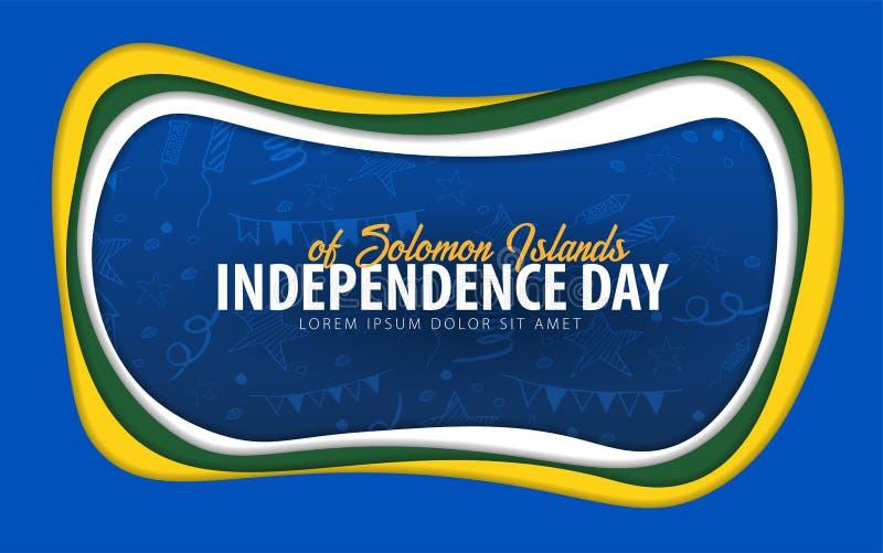 Islas Salomón Tarjeta de felicitación del Día de la Independencia estilo del corte del papel ilustración del vector