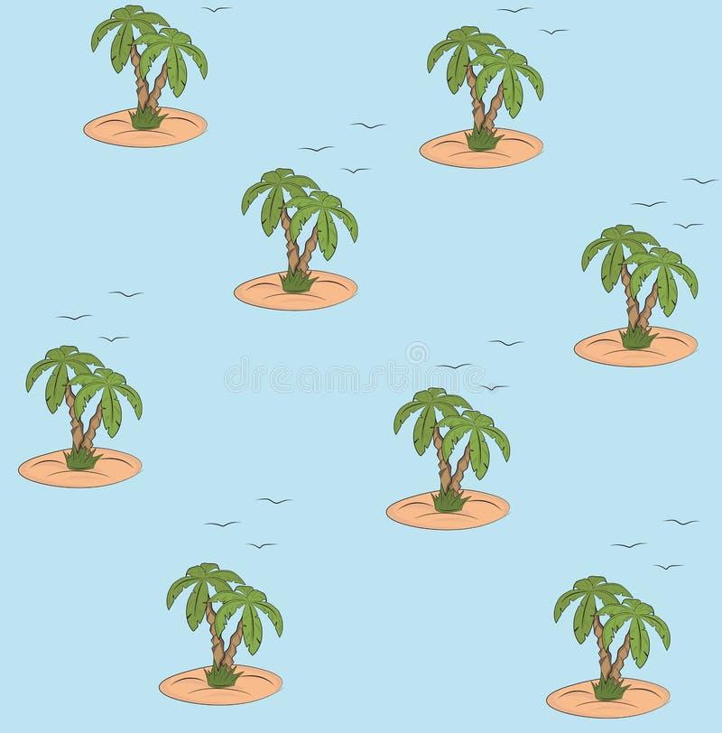 Islas y palmeras en un fondo azul Ilustración del vector del fondo Ilustración del vector libre illustration