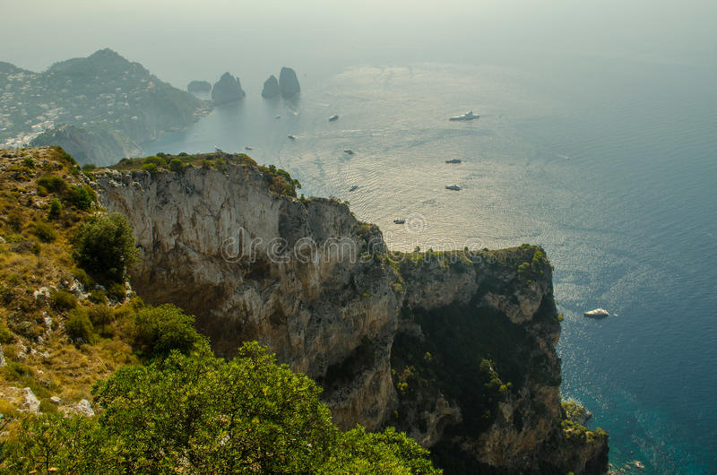 Isle of Capri with a busy Mediterranean bay. royalty free stock photos