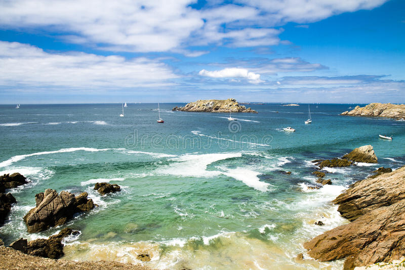 Isle of Houat. The coast on the Isle of Houat in Brittany, France royalty free stock images