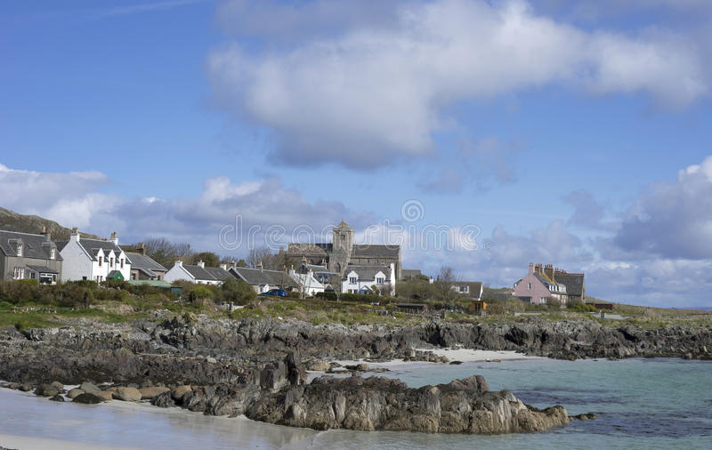 Isle of Iona accommodations and ocean views. One of Scotland's most sacred locations, Iona Island has been a center of Christian worship since St. Columba royalty free stock photography