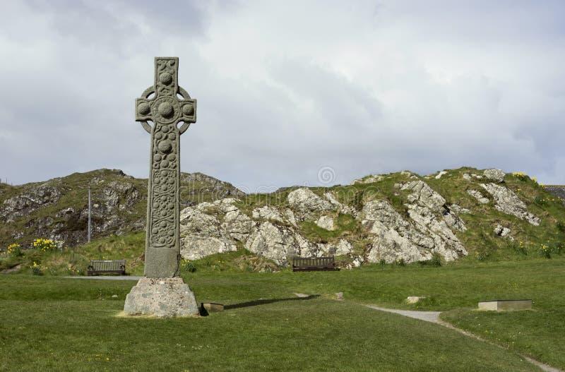 Isle of Iona early Celtic cross stock photos
