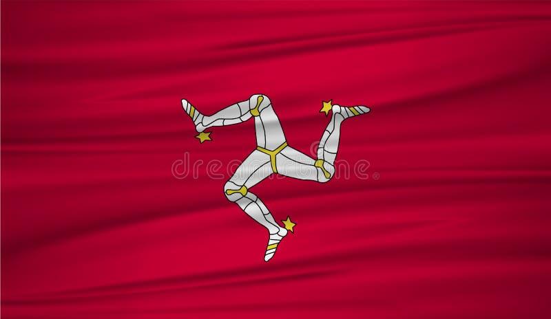 Isle of Man-Flaggenvektor Vector Flagge von Isle of Man-blowig im Wind lizenzfreie abbildung
