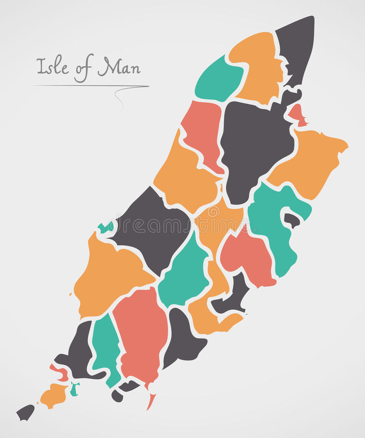 Isle of Man Map with states and modern round shapes. Illustration stock illustration