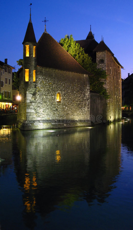 Isle Palace - night, Annecy FR royalty free stock photos