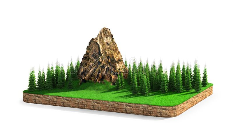 Isle. A piece of land with mountains and conifers. vector illustration
