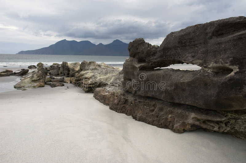 Isle of Rum from Singing Sands royalty free stock photos