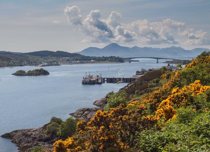 Isle of Skye Bridge, Scottish Highlands. Landscape of the Scottish Highlands with the Isle of Skye Bridge on the island of Eilean Ban, Lochalsh in the distance royalty free stock image